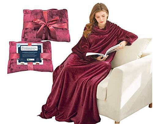 Kuscheldecke mit Ärmeln & Taschen, Geschenke für Frauen, Geburtstagsgeschenke für Mama, Schwester, Fre&in, Einweihungsgeschenke Couch, Fernseher, Sofa-Decke, TV-Decke 150x200 cm (Bordeaux)