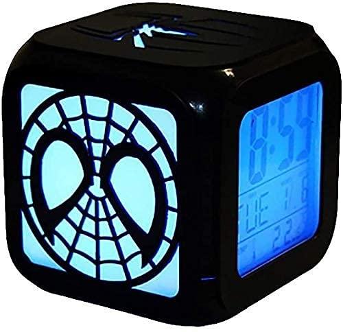 YAOJIA Despertador Digital Infantil Spider-Man Creative 3D Estéreo Alarma 7 Cambios De Color, Dormitorio De Noche DIRIGIÓ Reloj Digital De Luz Nocturna USB Carga, Regalos Divertidos For Niños.