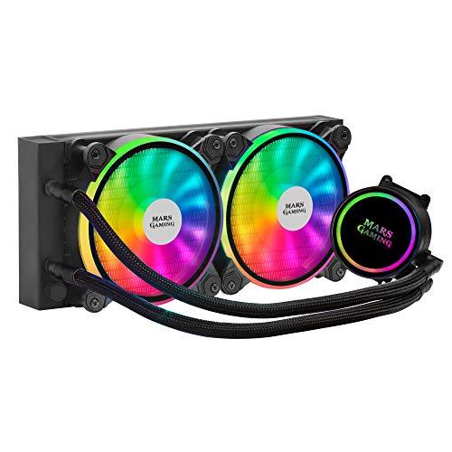 MARSGAMING ML240, Refrigeración líquida, TDP 400W, Ventilador Dual ARGB, Negro