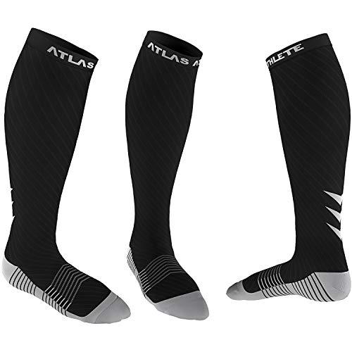 Atlas Sport Kompressionsstrümpfe für Herren & Damen - Ideal Kompressionssocken für Laufen, Radfahren, Ski - Abgestufte Kompression, ganztägiger Komfort (L-XL, Schwarz)