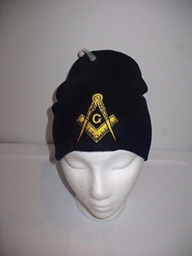 Mason Masonic Navy Blue with Gold Symbol Winter Knit Beanie Skull Cap Military Veteran Skully