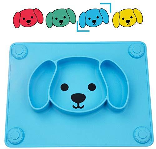 Qshare - Platos de silicona para bebé, una pieza, para bebés y niños, portátil, sin BPA, aprobado por la FDA, fuertes placas de succión para niños pequeños, aptos para lavavajillas y microonda