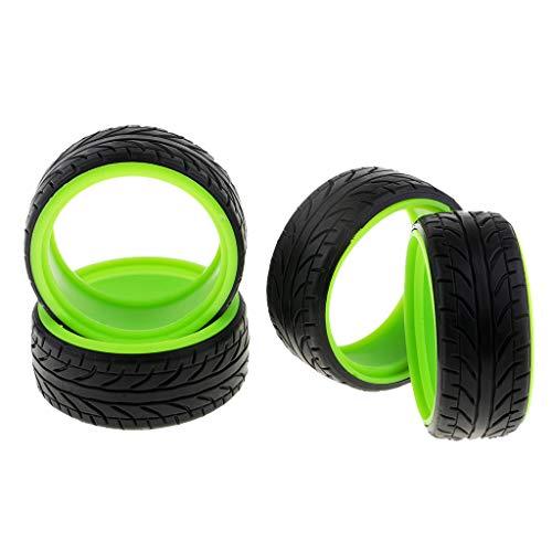 Sharplace 4pcs Neumáticos de Goma de Doble Revestimiento Patrones de Neumáticos a Prueba de Golpes para 1/10 HSP 94123 - Verde