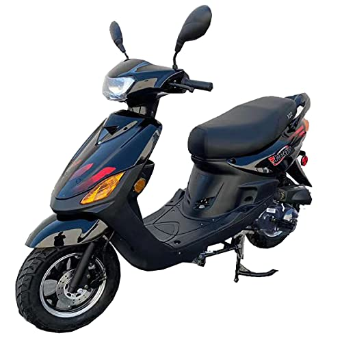 """X-PRO X22 50cc Moped Scooter Street Scooter Gas Moped 50cc Adult Scooter Bike with 10"""" Aluminum Wheels!(Black)"""