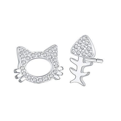 Orecchini a perno in argento asimmetrico a forma di gatto con osso di pesce carino piccoli orecchini per le donne in zirconia trasparente regalo per bambini