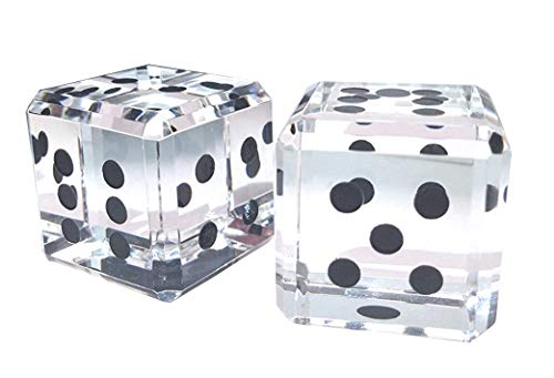Amlong Crystal Pair of Crystal Dice Paperweight with Black Dots 1 Inch with Gift Box