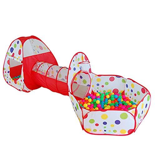 Casa de juegos para niños, tienda de campaña, túnel y pelota, piscina para niñas/niños (azul, naranja, rojo) – 270 x 110 x 85 cm (color: rojo, tamaño: 270 x 110 x 85 cm)