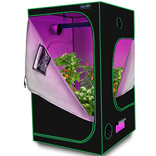 Quictent 48'x48'x78' Mylar Hydroponic Grow Tent with Observation Window and Removable Floor Tray for...
