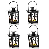 4 Pcs Vintage Black Metal Mini Decorative Candle Lanterns Tealight Candle Holder & Led Tea Light Candleholder Decoration for Birthday Parties Wedding Centerpiece Relaxing Spa Setting (Black, 4 Pcs)