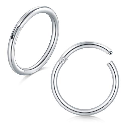 incaton 16 Gauge 8mm 2PCS Anillos en la Nariz Aro Septum Anillo Clicker Acero Inoxidable 316L Cartílago Tragus Piercing, Plata