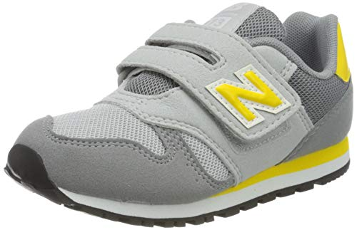 New Balance 373 Hook and Loop n, Zapatilla Clásica Hombre, Gris (Steel with Atomic Yellow), 44.5 EU