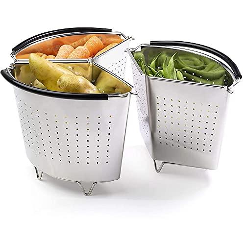 COKEA Juego de tres divisores y separadores para cacerolas que ahorra energía y espacio al cocinar tres partes de acero inoxidable profesional colador de verduras, patatas, mejillones, huevos hervidos