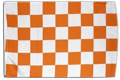 Fahne Flagge Karo Weiß-Orange 30 x45 cm