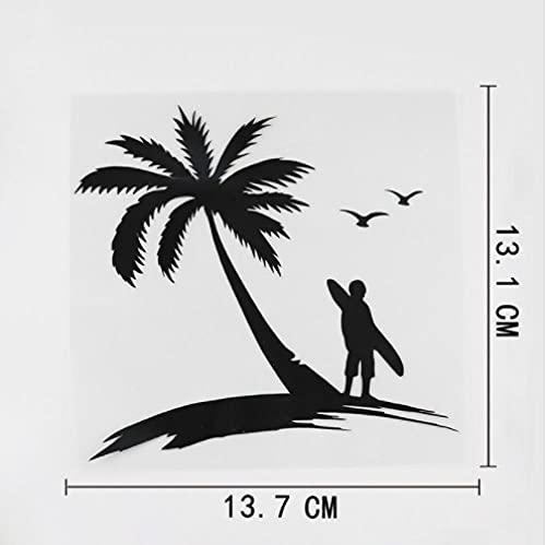 Gbrand 3 Piezas Etiqueta engomada del Coche 13,7 cm x 13,1 cm Surf Deportes acuáticos Playa calcomanía Vinilo Coche Pegatina Negro