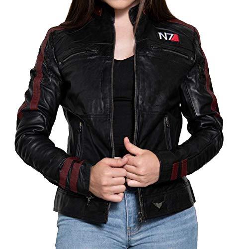 EU Fashions Damen Lederjacke Commander Shepard Street Fighter Mass Effect N7 Logo Schwarz Gr. XX-Small, Schwarz - Mass Effect Echtleder Jacke
