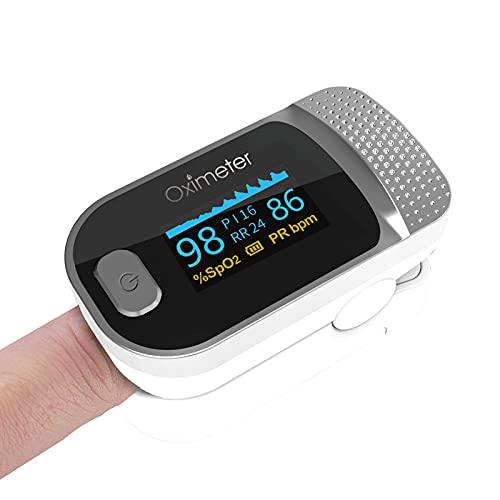 Mini Fingertip Pulse Oxi-M-Eter SPO2 Taxa de pulso Monitor de saturação de oxigênio no sangue Display OLED claro para viagens esportivas em casa,White