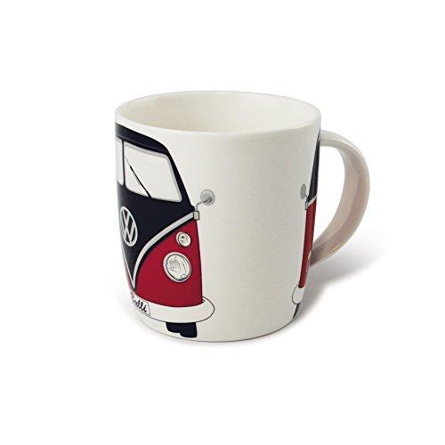BRISA VW Collection - Volkswagen Bulli Bus T1 Kaffee-Tee-Tasse-Becher für Küche, Werkstatt, Büro - Camping-Zubehör/Geschenk-Idee/Souvenir (Motiv: Front/Schwarz/Rot)