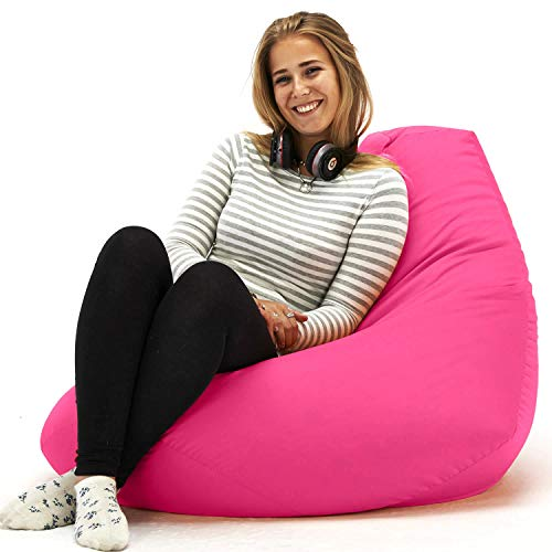 Beautiful Beanbags Adult Highback Beanbag Large Bean Bag Chair for Indoor and Outdoor Use - Water Resistant- Perfect Lounge or Gaming Chair - Home or Garden Bean Bag - Manufactured in UK - Pink