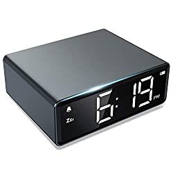 NOKLEAD Digital Alarm Clock - 4 Brightness LED Display with Alarm Snooze 12/24H, Adapter Powered with Backup Batteries, Simple Operations, Small Metal Clock for Bedroom Travel Office (Space Gray)