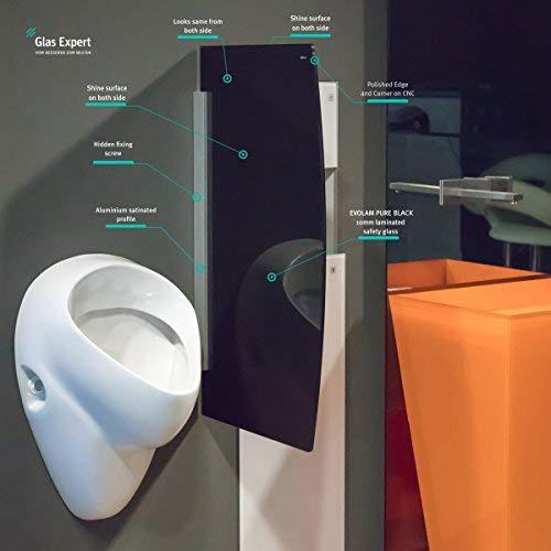 Glas Expert | Glas Urinal Trennwand | 45cm x 80cm | Schwarz | Urinal Glaswand | Bidet Toiletten Schamwand | Glas WC Trennwand