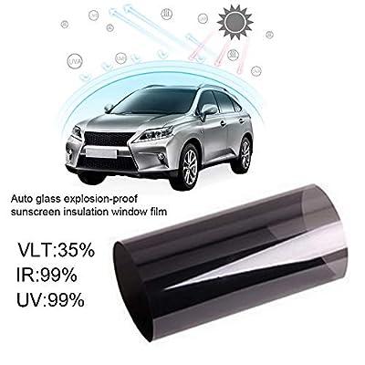 Lifemaison 1pcs Film de Protection Solaire Autocollant pour Fenêtre de Voiture Anti Chaleur Contre Rayon de Soleil et UV Noir (50cm x 3m)