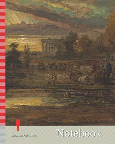 Notebook: Cattle at a Pool at Sunrise, James Ward, 1769-1859, British, 1827, Oil on paper laid on board, Support (PTG): 12 1/2 × 17 3/4 inches (31.8 × ... livestock, pond, pool, sky, sun, sunrise