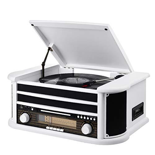 MUSITREND Nostalgie Musikanlage mit Plattenspieler, Retro Stereo Kompaktanlage mit AM/FM Radio, Bluetooth CD Player USB Kassette Fernbedienung, aus 100{eeb1bbf951aa30e155ab25f712a6517e6f9541b3c9c49aecc78b7e04ec93fd22} Natürlichem Holz, Weiß