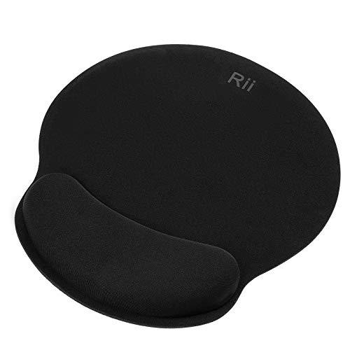 Rii Mauspad mit Gelkissen - 25x23cm - Wasserdicht Ergonomisches Komfort Mauspad, Mousepad mit Handgelenkauflage für Computer und Laptop- schwarz