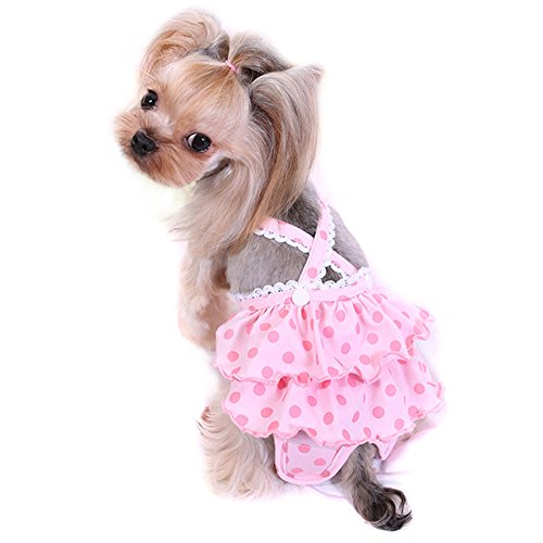 Alfie Pet - Frona Diaper Dog Sanitary Pantie with Suspender for Girl Dogs - Color: Pink, Size: Small
