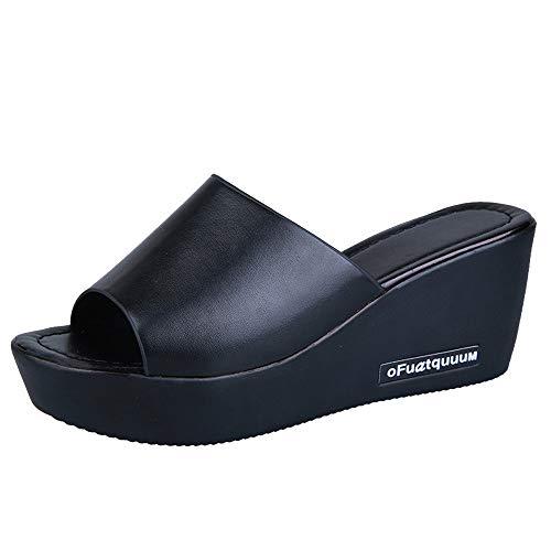 BaZhaHei Damen Zehentrenner Sandalen Schuhe Sommer Mode Frauen Fischmaul Plattform High Heels Slope ansteigen Fischmund Keil Sandalen Durchbrochene Hausschuhe Flip Flops