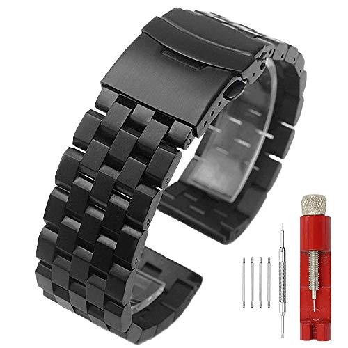 Kai Tian 26mm Schwarz Armbanduhr Matt 5 Reihen Doppelschlösser Edelstahl Uhrenarmband Ersatz Metall Band für Männer Frauen Armband für Damen Herren