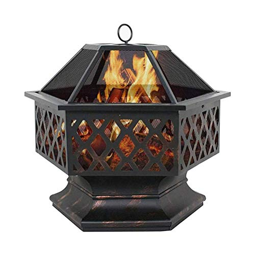 YLJYJ Outdoor Fire Pits Portable Metal Fire Pit Hexagon Design Fireplace Stove, With Mesh Screen Cover Fireplace Stove Wood Burning, for (BBQ)