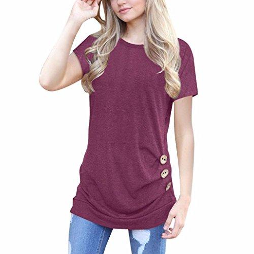 OVERDOSE Damen Kurzarm Lose Knopfleiste Bluse Einfarbig Rundhals Tunika T-Shirt Sommer Oberteil Tops(A-Wine,L)