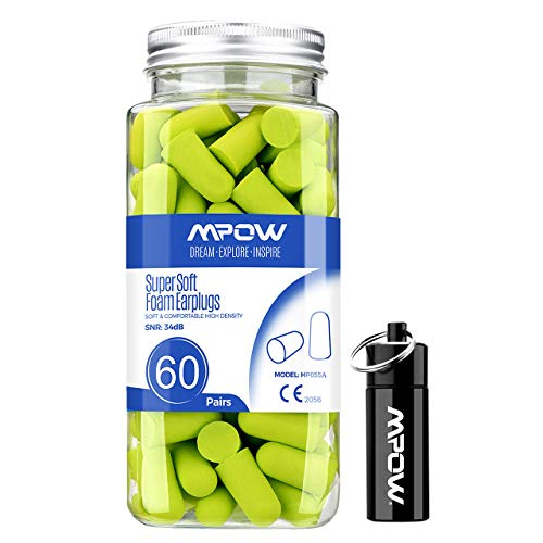 Mpow Foam Earplugs 60 Pairs with Aluminum Carry Case, 34dB...