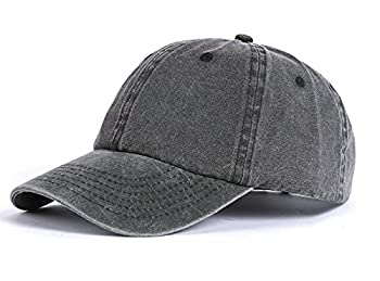 Zylioo Extra Big Washed Cotton Baseball Cap,Pigment Dyed Trucker Cap for Big Heads,Soft Unstructured Large Running Hat Black Gray