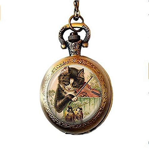 Cat Pocket Watch Necklace Music Jewelry Bird Pocket Watch Necklace, Kitty Playing Violin Animal Pocket Watch Necklace,Handmade Jewelry Gift