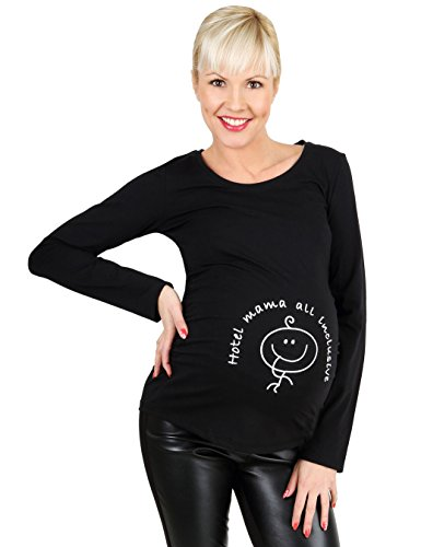 Be! Mama lustige Umstandsmode Schwangerschafts-Shirt, Modell: Hotel, schwarz, Größe: L