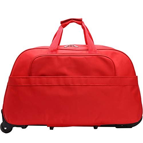 Holdall with Wheels Cabin Bag Ladies Travel Bags Women Man Hand Luggage with Wheels Trolley,Red,20in