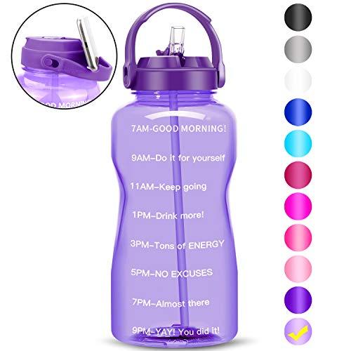 QuiFit - Botella de agua de paja motivacional de 3,8 litros, con marcador de tiempo, libre de BPA, resistente a las fugas, para entusiastas del fitness al aire libre (3,8 L, morado débil).