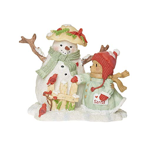 """Price comparison product image Roman Cherished Teddies,  Snowman and Betty Teddie Figure,  4"""" H,  Resin and Wollastonite,  Durable,  Collectible Decoration,  Decorative"""