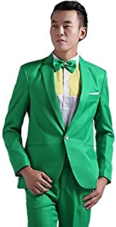 Men's Korean Style Colorful Stylish Party Suit Pants Set Green
