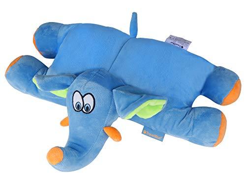 Travel Blue Kids kussen Trunky de olifant reiskussen pluizige reisaccessoires comfortabel & ontspannen reiskussen, 35 cm, blauw