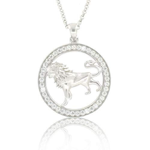 PAVEL´S Damen Kette Sternzeichen LÖWE Halskette aus echtem Silber 925 mit glänzenden Zirkonia Löwenkopf Anhänger aus der Kollektion ECLIPSE inkl. Schmuckbox und Echtheits-Zertifikat