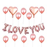 Amosfun 21 Globos del Día de San Valentín Globos de Látex Globos de Papel de Aluminio Corazón Te Amo Letras Globo para La Fiesta de Bodas Decoración de Cumpleaños (Oro Rosa)