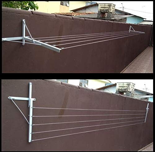 Varal de muro com mão francesa e cordas com até 5 metros