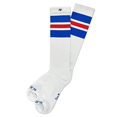Spirit of 76 The royal Reds | Retro Socken Weiß, Blau und Rot gestreift | kniehoch | Unisex Strümpfe Size M (39-42)