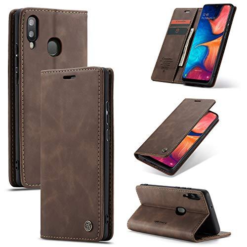 AKC Coque Compatible avec Samsung Galaxy A20E Cover Cuir Housse Pochette Fonction Stand Ultra Mince Protection Antipoussière Case-Café