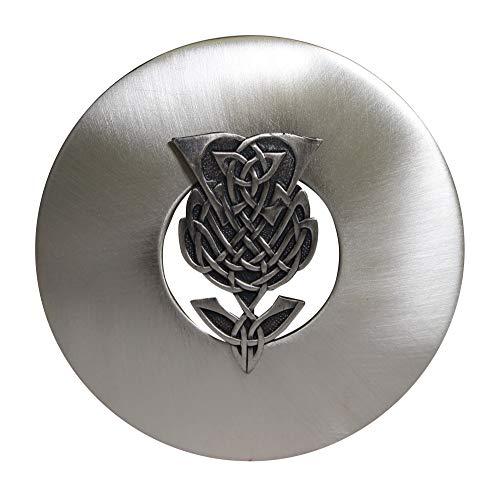 Traditional Scottish Chrome Matte Antique Thistle Kilt Plaid Shawl Sash Brooch Pin