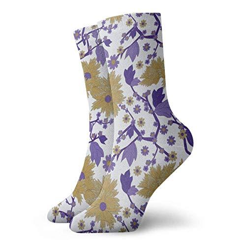 AEMAPE Jardín japonés Planta de Flor púrpura Calcetines Deportivos Calcetines de Tobillo Calcetines Deportivos Casuales Calcetines Deportivos