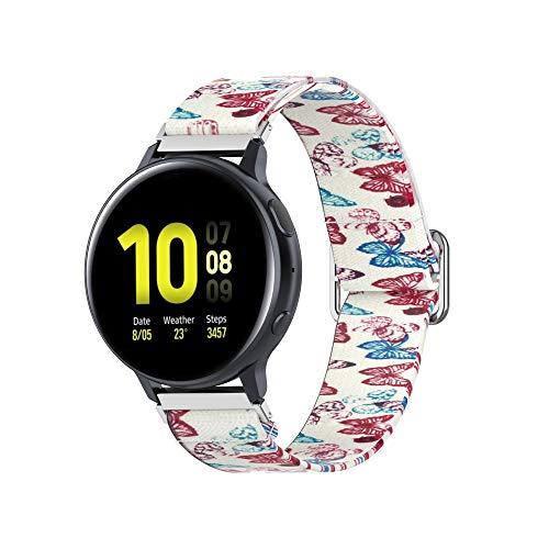 20mm Correa Compatible con Galaxy Watch 3,Correas De Reloj,Pintado Bandas Correa Repuesto,Reloj Recambio Brazalete Correa Repuesto para Galaxy Watch Active/Huawei watch GT2 (mariposa)